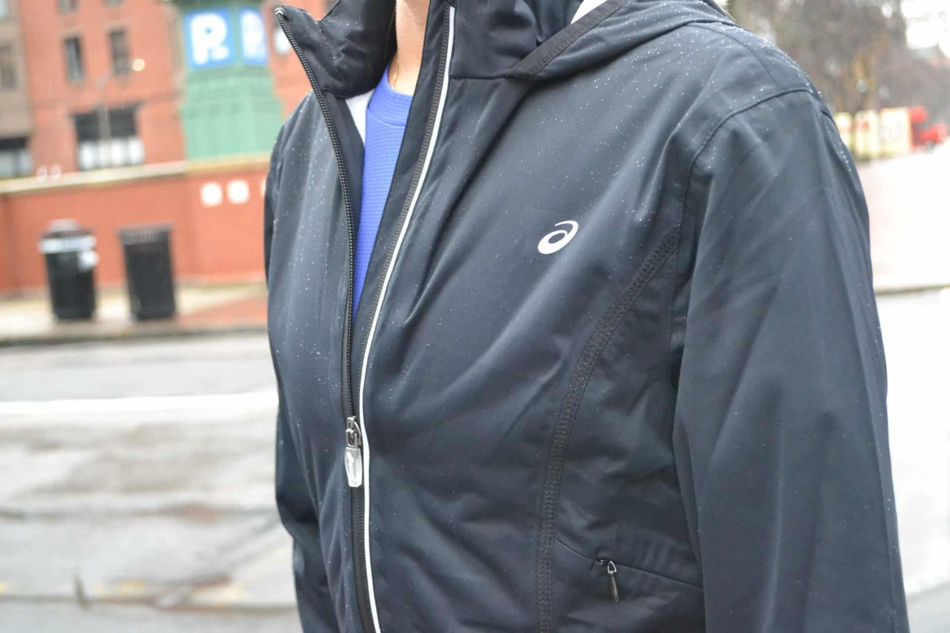 Outer shells like this ASICS jacket keep the elements off our apparel
